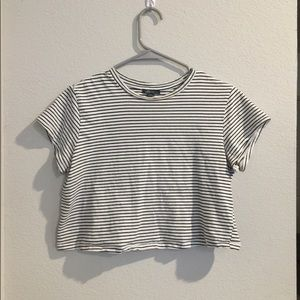 Short white and black striped crop top